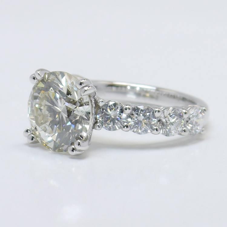 4.36 Carat Custom Round Diamond Engagement Ring angle 3