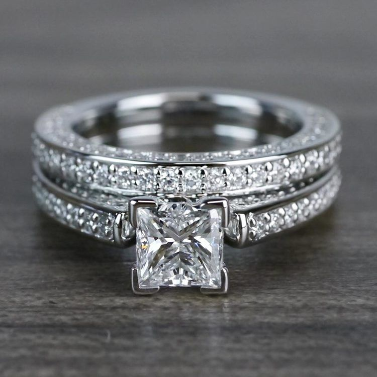 Shimmering Pave 1 Carat Princess Cut Diamond Ring & Matching Band