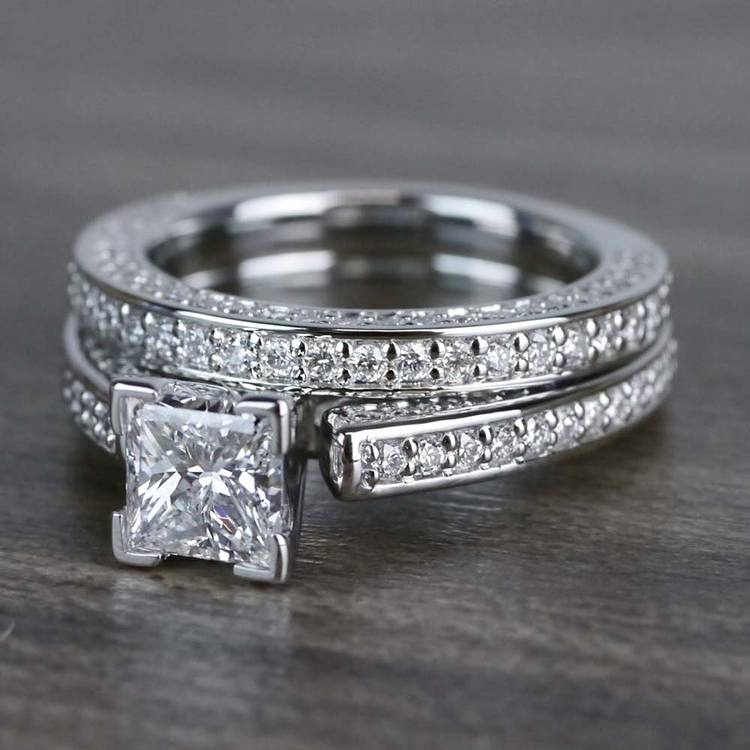 Shimmering Pave 1 Carat Princess Cut Diamond Ring & Matching Band angle 2