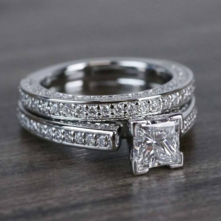Shimmering Pave 1 Carat Princess Cut Diamond Ring & Matching Band angle 3