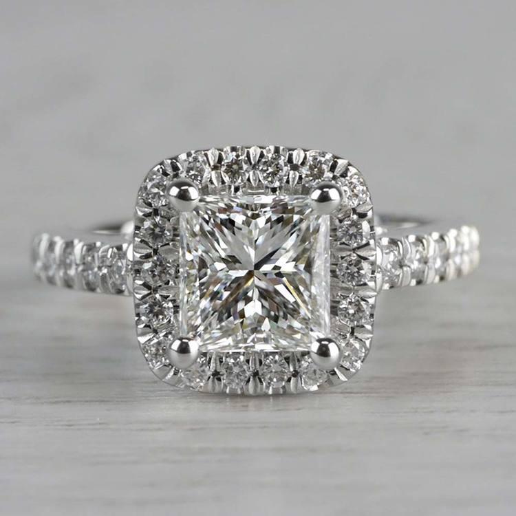 Shining Princess Cut Diamond Halo Ring