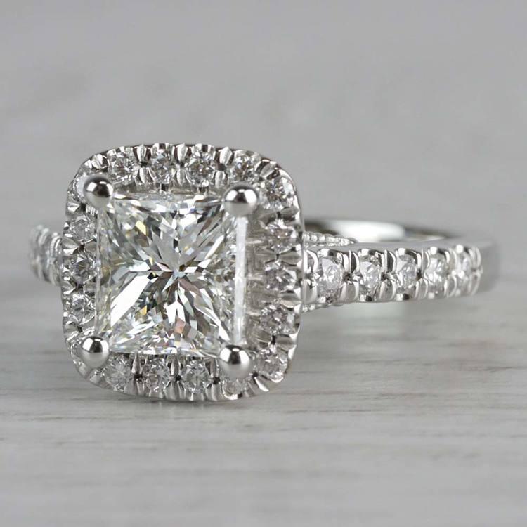 Shining Princess Cut Diamond Halo Ring angle 2