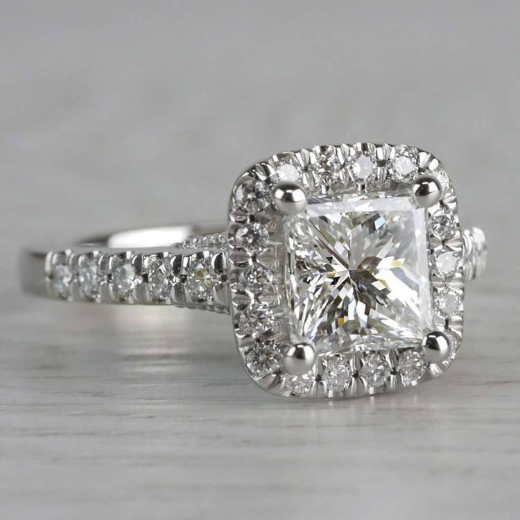 Shining Princess Cut Diamond Halo Ring angle 3