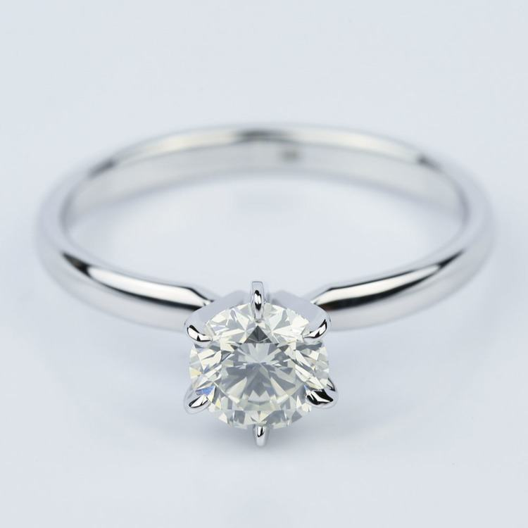 Six-Prong 1.01 Carat Round White Gold Solitaire Engagement Ring