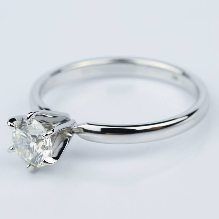 Six-Prong 1.01 Carat Round White Gold Solitaire Engagement Ring angle 2