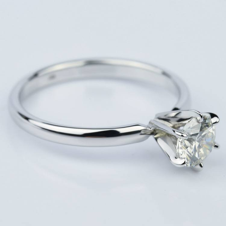 Six-Prong 1.01 Carat Round White Gold Solitaire Engagement Ring angle 3