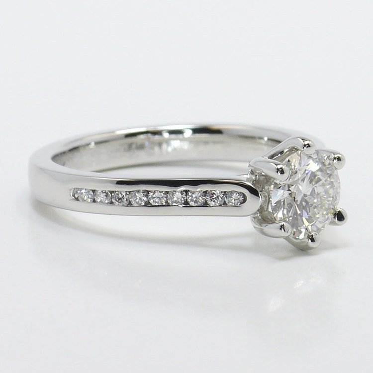 Six Prong Channel Diamond Engagement Ring  angle 3