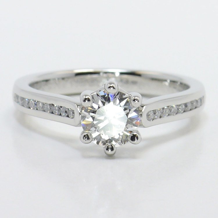 Six Prong Channel Diamond Engagement Ring