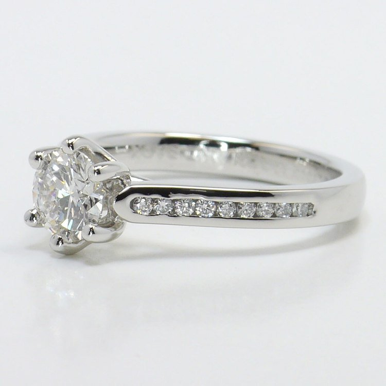 Six Prong Channel Diamond Engagement Ring  angle 2