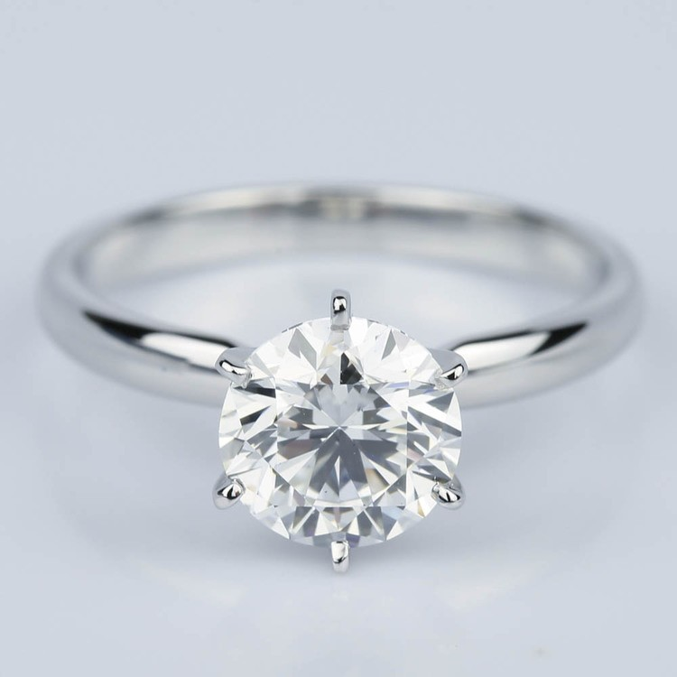 Six Prong Comfort-Fit Solitaire Engagement Ring in White Gold (1.60 ct.)
