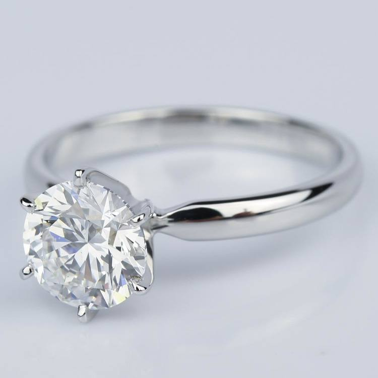 Six Prong Comfort-Fit Solitaire Engagement Ring in White Gold (1.60 ct.) angle 2