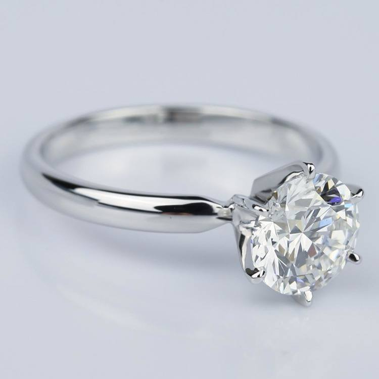 Six Prong Comfort-Fit Solitaire Engagement Ring in White Gold (1.60 ct.) angle 3