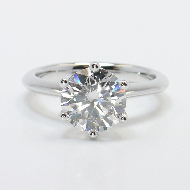 Six-Prong 2 Carat Round Diamond Solitaire Engagement Ring