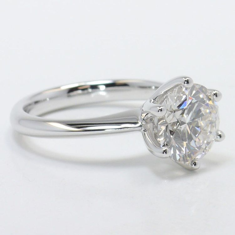 Six-Prong 2 Carat Round Diamond Solitaire Engagement Ring angle 3