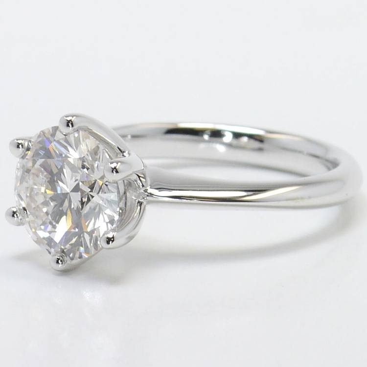Six-Prong 2 Carat Round Diamond Solitaire Engagement Ring angle 2