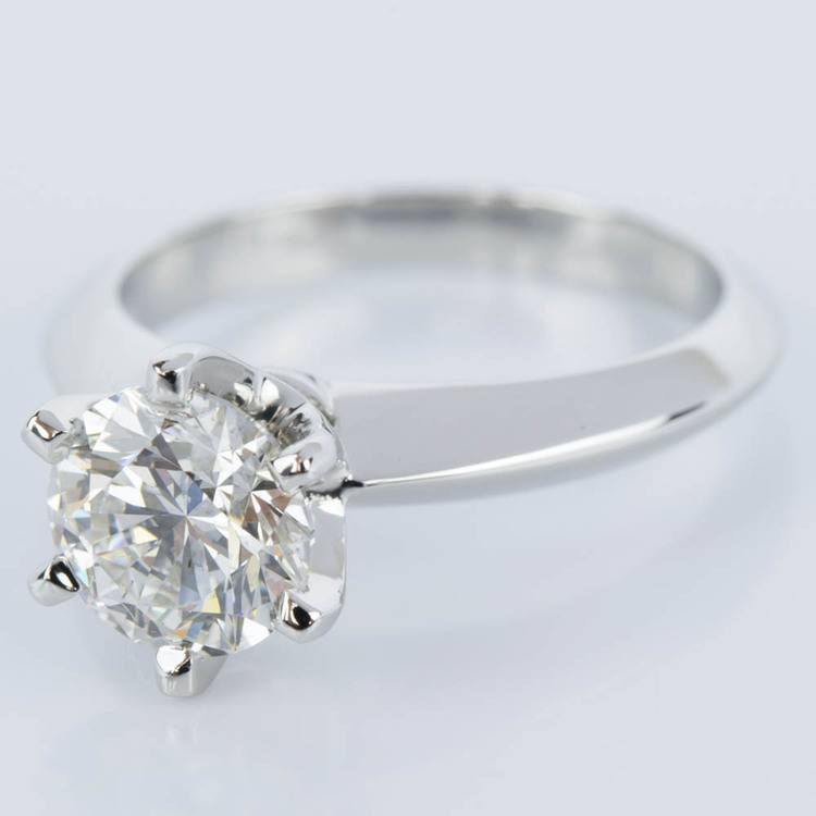 Six-Prong Knife Edge Diamond Engament Ring in Platinum (1.30 ct.) angle 2