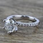 Six Prong Pave Diamond Engagement Ring (1.52 ct.) - small angle 2