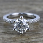 Six Prong Pave Diamond Engagement Ring (1.52 ct.) - small