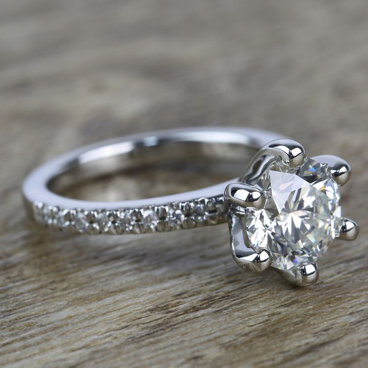 Six Prong Pave Diamond Engagement Ring (1.52 ct.) angle 3