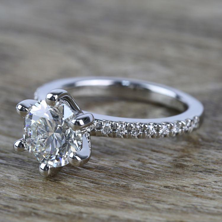 Six Prong Pave Diamond Engagement Ring (1.52 ct.) angle 2