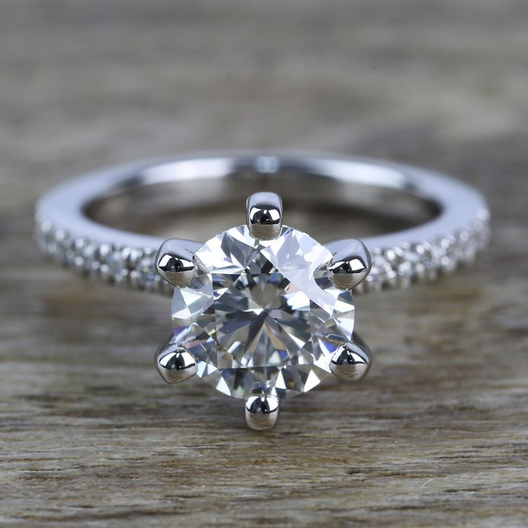 Six Prong Pave Diamond Engagement Ring (1.52 ct.)