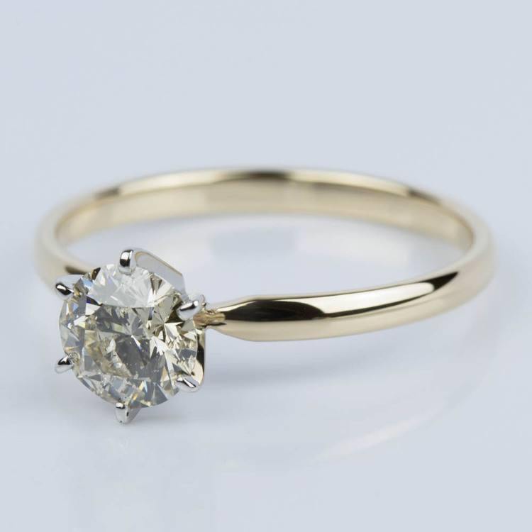 Six-Prong Solitaire Engagement Ring in Yellow Gold (1.50 ct.) angle 2