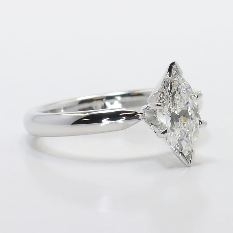 Solitaire 6-Prong 0.74 Carat Marquise Diamond Engagement Ring angle 3