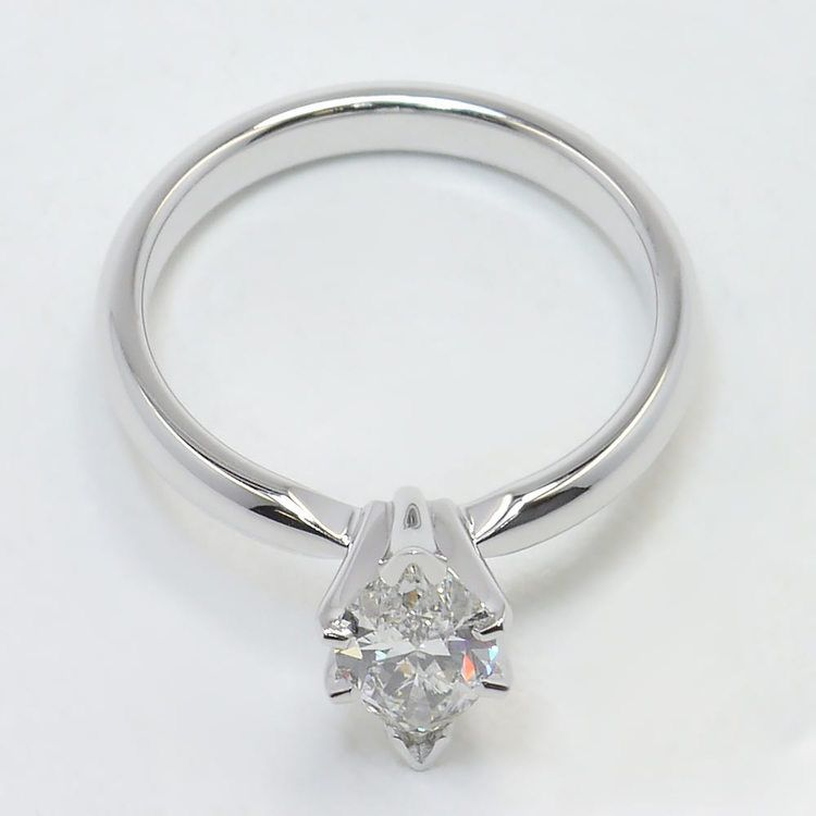 Solitaire 6-Prong 0.74 Carat Marquise Diamond Engagement Ring angle 4