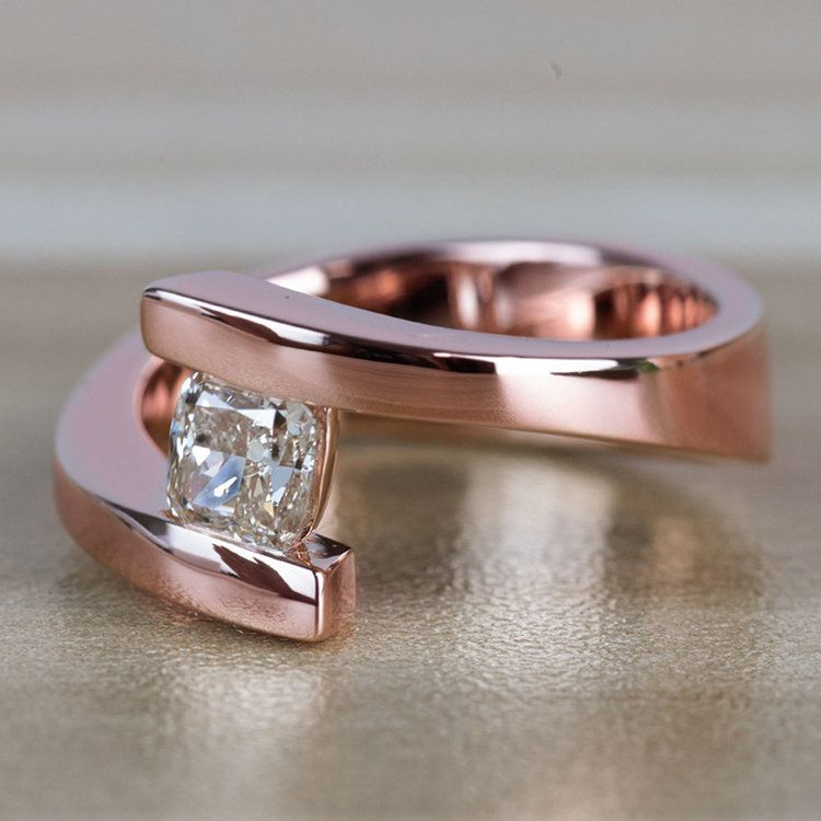 Sleek Bypass Engagement Ring with a Cushion Cut Diamond angle 2