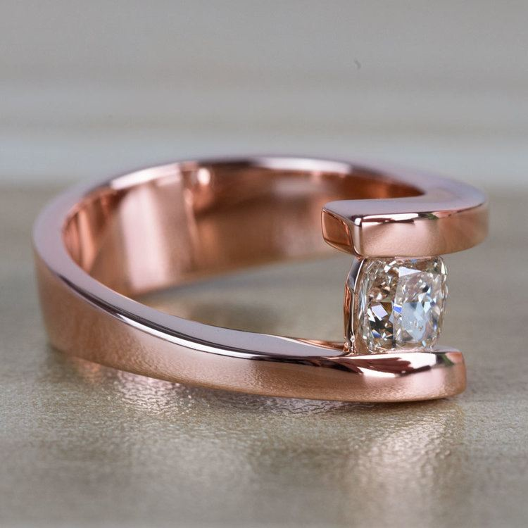 Sleek Bypass Engagement Ring with a Cushion Cut Diamond angle 3