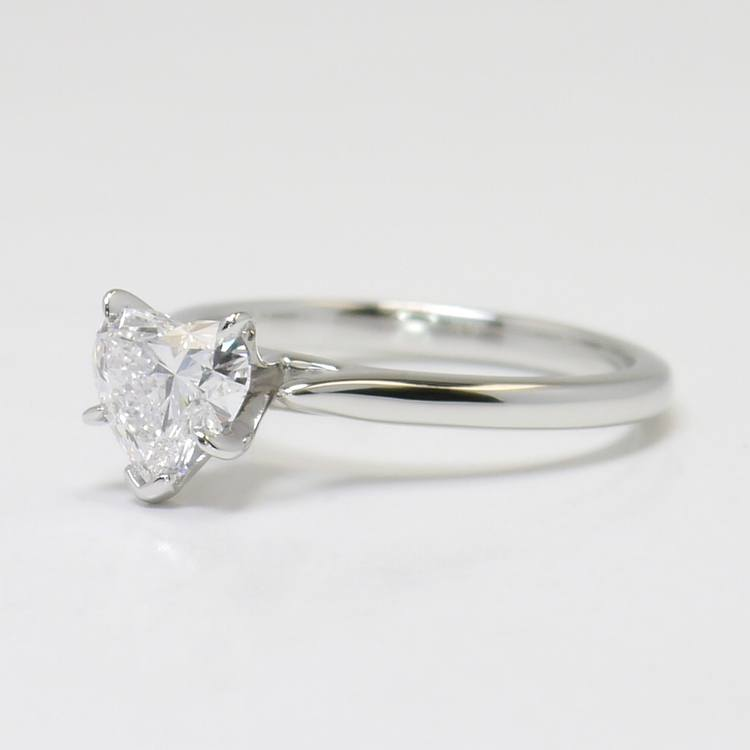 1 Carat Flawless Solitaire Heart Diamond Engagement Ring angle 2