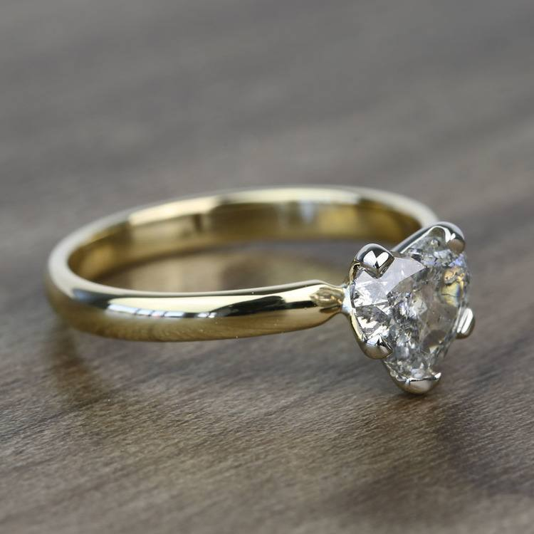 Solitaire 1 Carat Heart Diamond Engagement Ring angle 3
