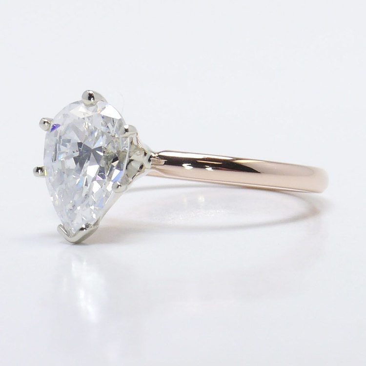 Solitaire Pear Engagement Ring in Rose Gold  angle 2