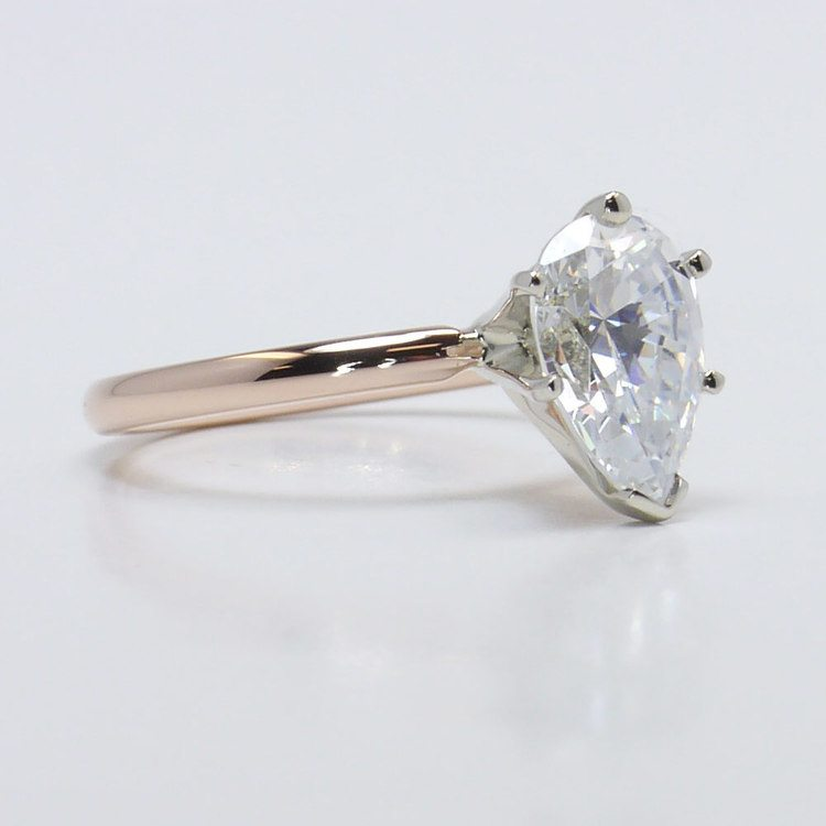 Solitaire Pear Engagement Ring in Rose Gold  angle 3