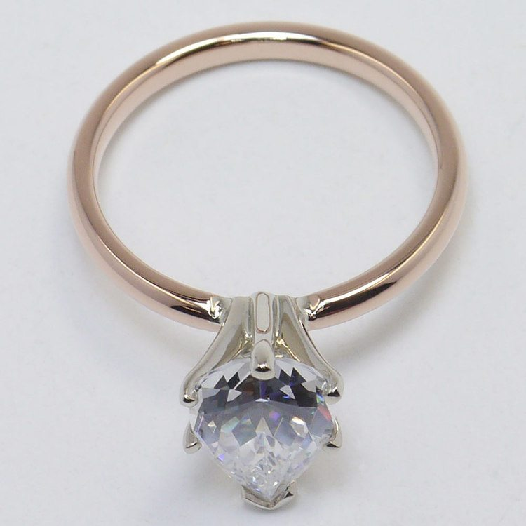 Solitaire Pear Engagement Ring in Rose Gold  angle 4