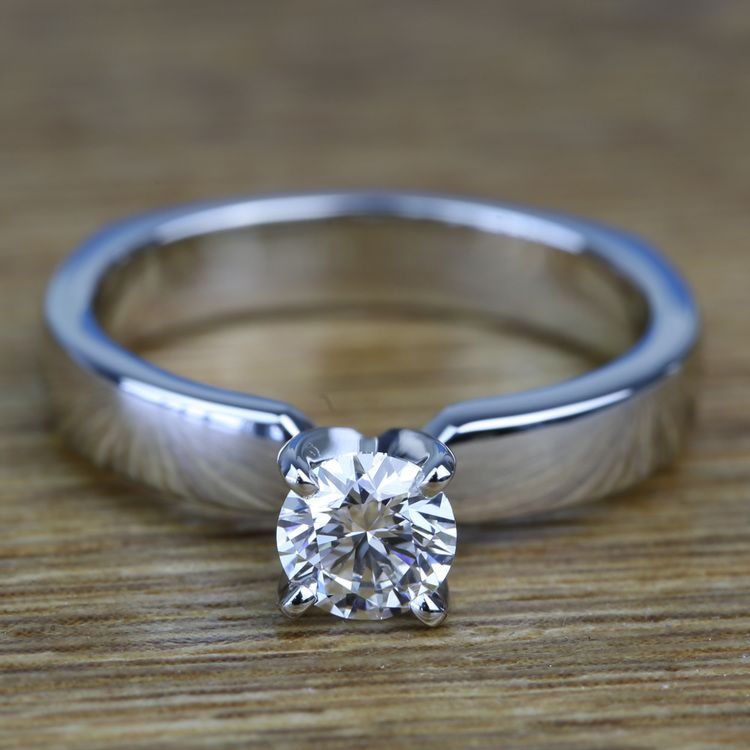 Solitaire Round Loose Diamond Engagement Ring in Platinum