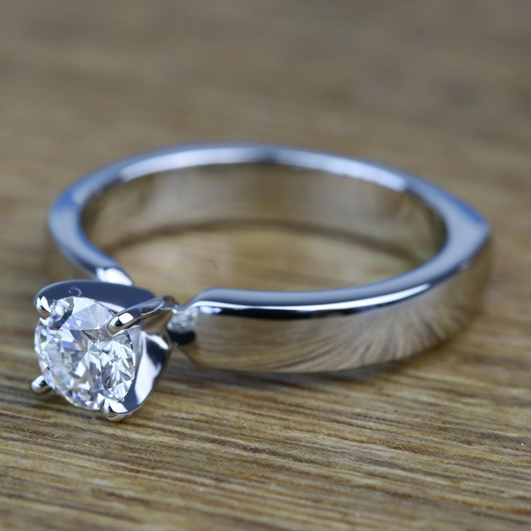 Solitaire Round Loose Diamond Engagement Ring in Platinum angle 2