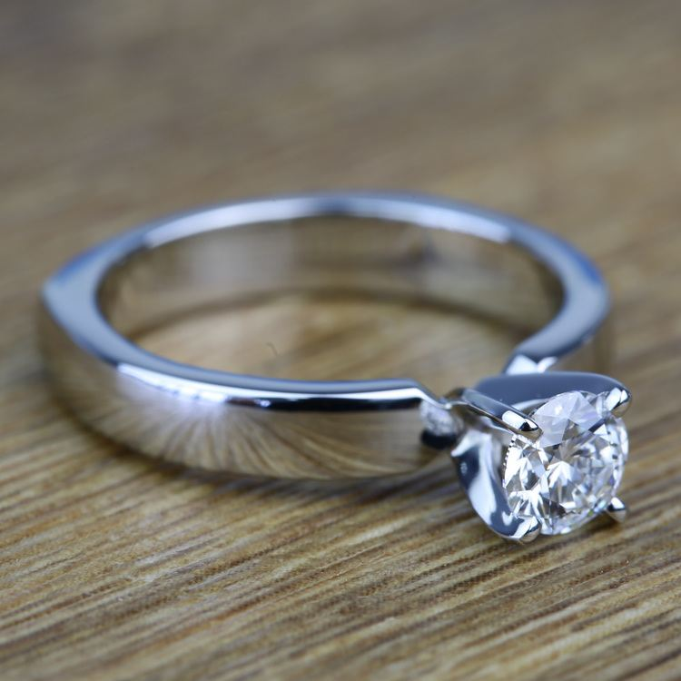 Solitaire Round Loose Diamond Engagement Ring in Platinum angle 3