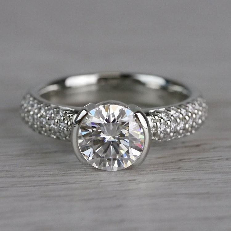Sparkle Forever One Moissanite Diamond Engagement Ring