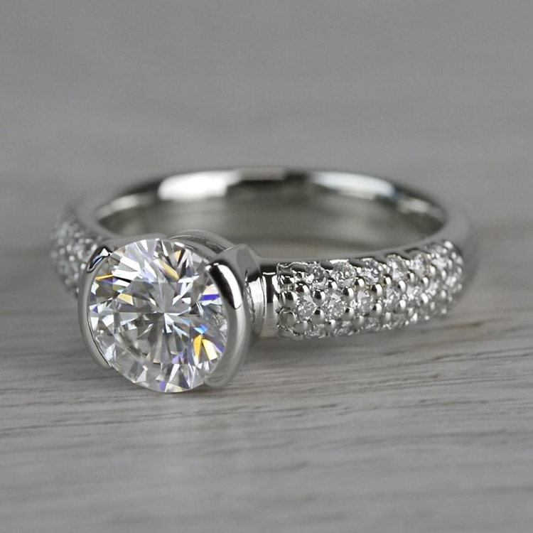 Sparkle Forever One Moissanite Diamond Engagement Ring angle 2