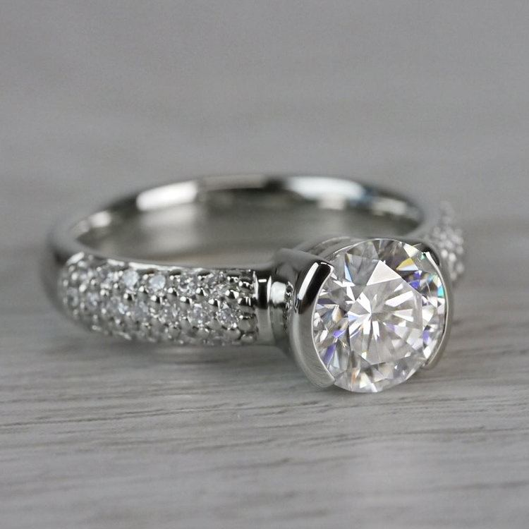 Sparkle Forever One Moissanite Diamond Engagement Ring angle 3