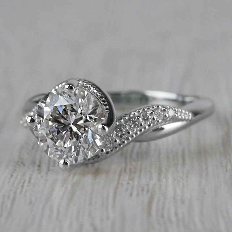 Sparkling Bliss Round Cut Diamond Twisted Engagement Ring angle 2