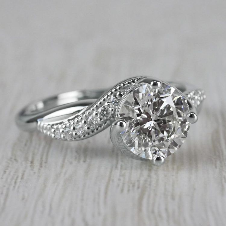 Sparkling Bliss Round Cut Diamond Twisted Engagement Ring angle 3