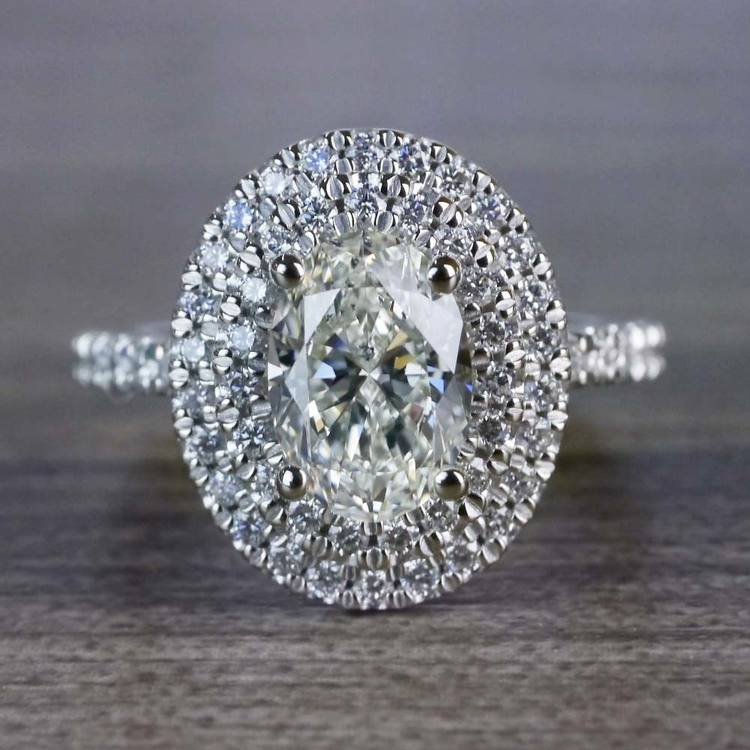 Sparkling Oval Diamond Double Halo Engagement Ring