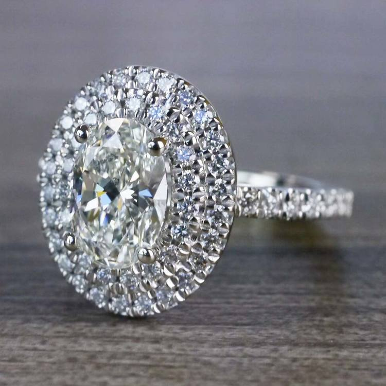 Sparkling Oval Diamond Double Halo Engagement Ring angle 2