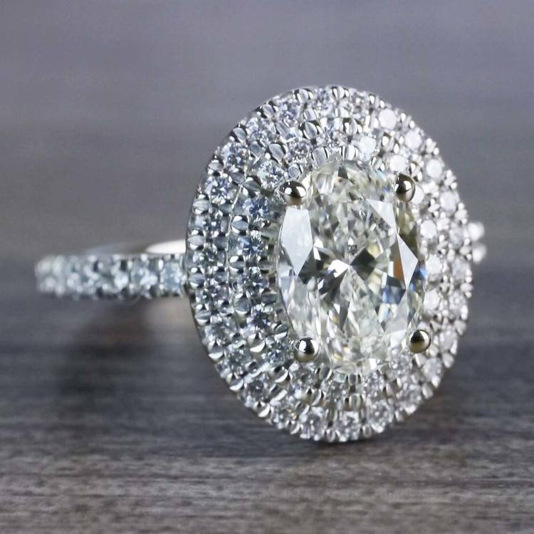 Sparkling Oval Diamond Double Halo Engagement Ring angle 3