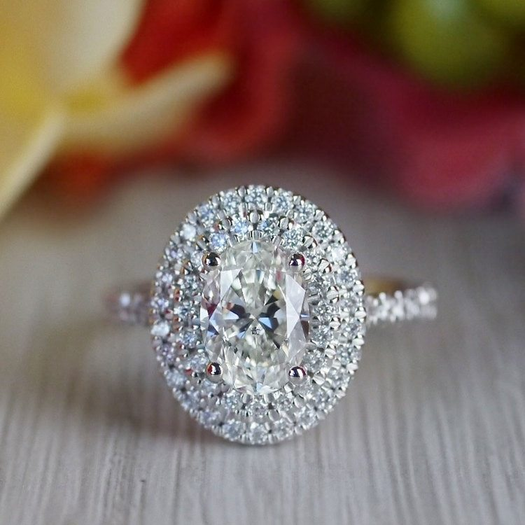 Sparkling Oval Diamond Double Halo Engagement Ring angle 5