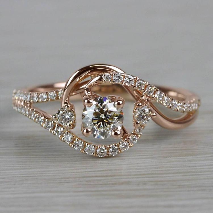 Sparkling Swirled Round Cut Diamond Rose Gold Engagement Ring