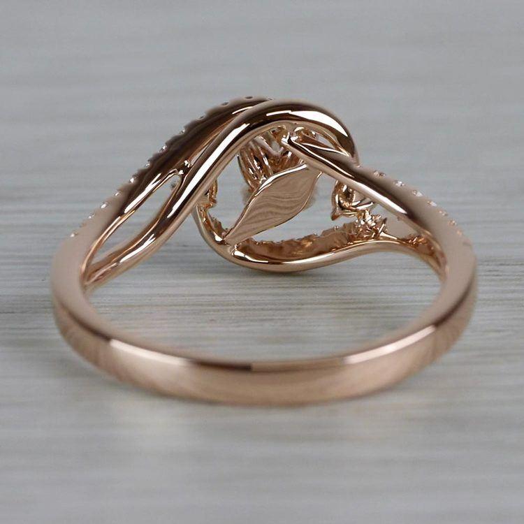 Sparkling Swirled Round Cut Diamond Rose Gold Engagement Ring angle 4