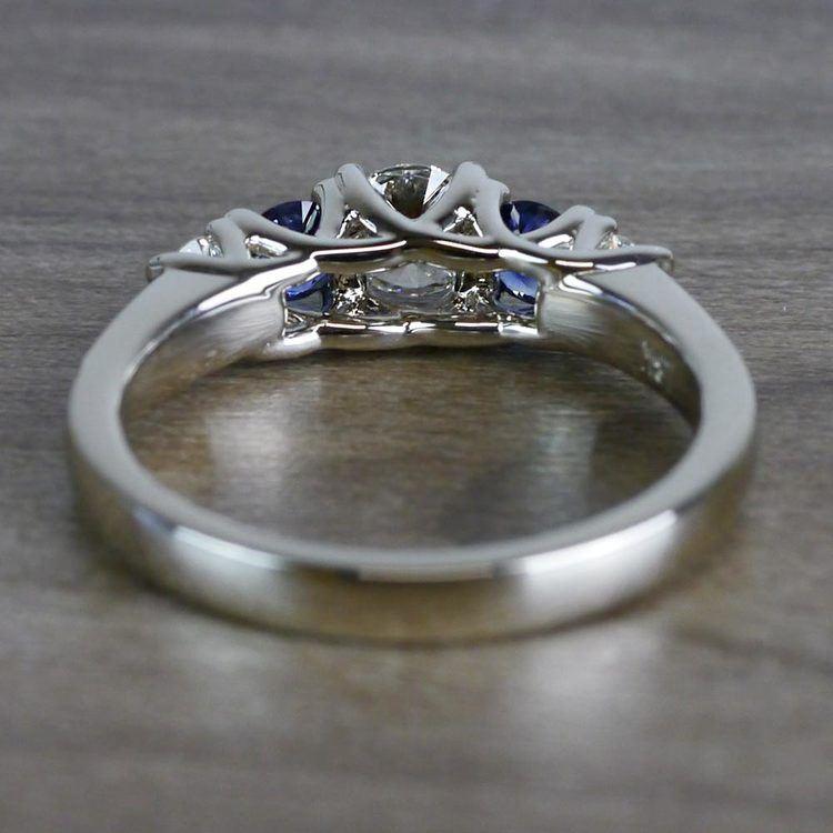 Sparkling Trellis Gemstone Sapphire and Diamond Ring angle 4